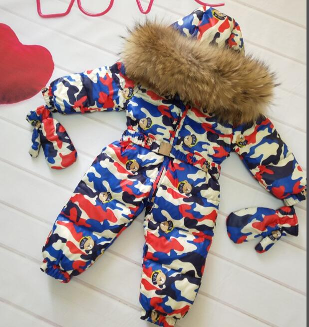 Buy Cheap Real Fur Hooded 2018 Winter Jacket Child Jackets Children Jumpsuit Snow Suit Girl Floral Limbing Down Romper Ski Suits Outerwear