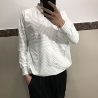 Spring and Autumn New style hip hop tide brand personality striped loose sweater Korean version of the original creation collar
