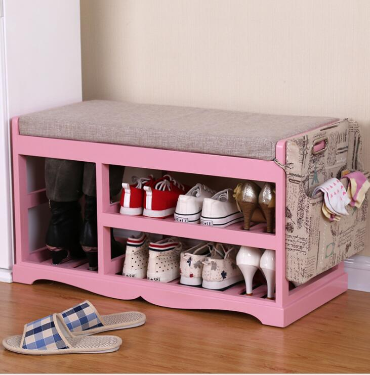 Wooden Shoe Rack Storage Organizer & Hallway Bench Living Room ...