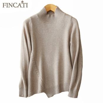 Suéter para mujer, Otoño Invierno, alta calidad, 100%, cachemir puro, tejido con Cable, asimétrico, dobladillo entallado, Jersey de punto superior