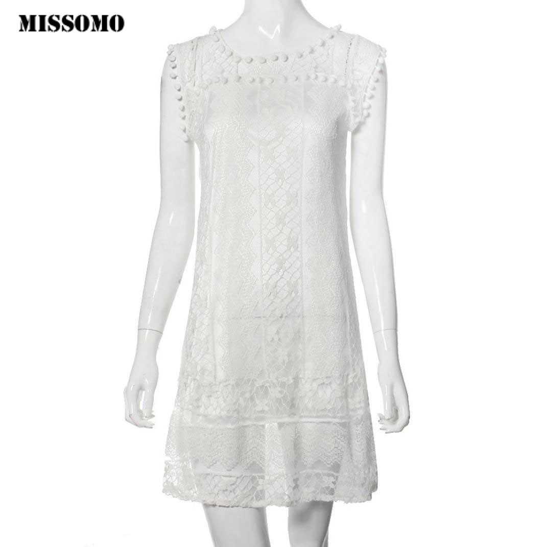 MISSOMO/женское летнее платье; повседневное кружевное пляжное платье без рукавов; Белое Мини-Платье с бахромой; элегантные вечерние платья в винтажном стиле