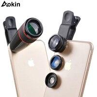 Aokin Aparatu Teleobiektyw 12X Zoom Optyczny Obiektywu Dla Telefonu komórkowego obiektyw O Szerokim Kącie i Makro Rybie oko Dla Telefonu kamera