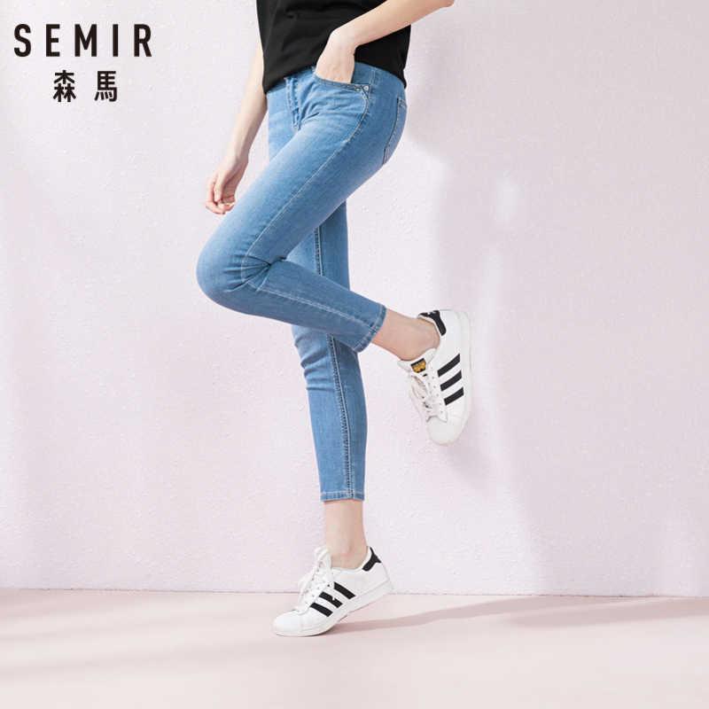 SEMIR mujer Jeans Femme talla grande Slim Stretch Mujer azul Vintage pantalones de mezclilla rectos elevación cadera señoras Pantalones