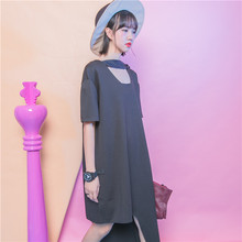 Street fashion solid color loose plus size bandage cutout o-neck short-sleeve dress asymmetrical female