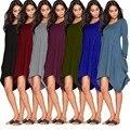 Женщины повседневные платья с длинным рукавом Карманы 2016 Новое Прибытие женская Мода Осень Зима Носите Bodycon хлопок нерегулярные платье одежда