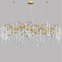 Manggic Modernos Lustres de cristal de luxo Grandes Artísticas Ramos Esmalte Colorido Lustre Do Hotel Lâmpada de Cobre Luz|Lustres| |  -