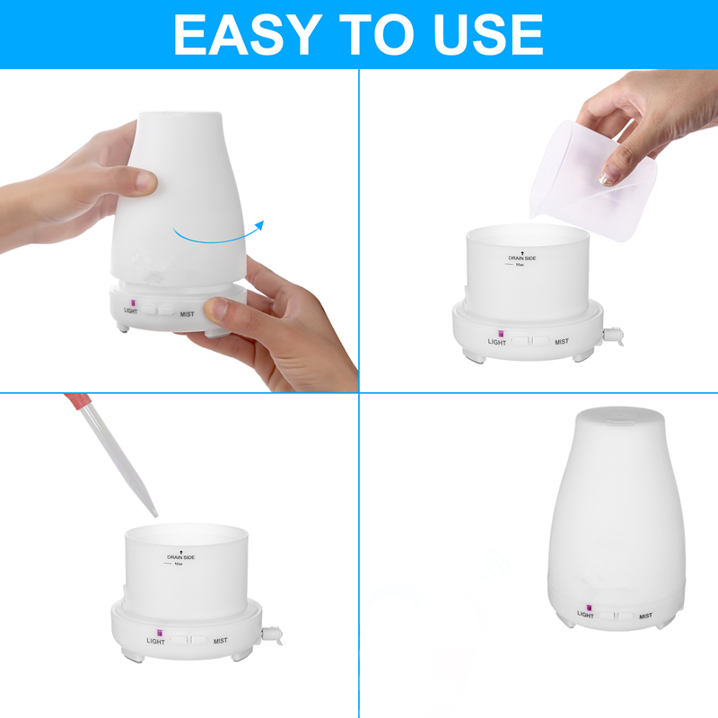 Diffuserlove 220ML Ultrasonic Air Humidifier Remote Control Electric Aromatherapy Essential Oil Diffuser With LED Light