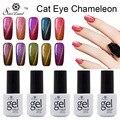 Saviland 1 unids Camaleón 3D Ojos de Gato del Gel Empapa de 24 Que Cambia de Color de Uñas de Diamante Imán Camaleón Gel Polaco