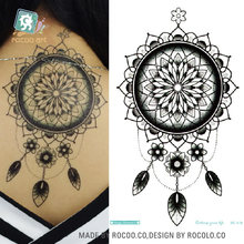 Rocooart Back Tattoo Taty Dream Catcher Waterproof Temporary Tattoo Stickers For Men Women Fake Tattoo Sticker Henna Tatouage(China)