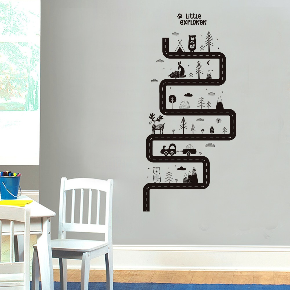 Aliexpress com buy curved road traffic car wall stickers solid color animal plants mountain clouds black murals creative home office decor pos from