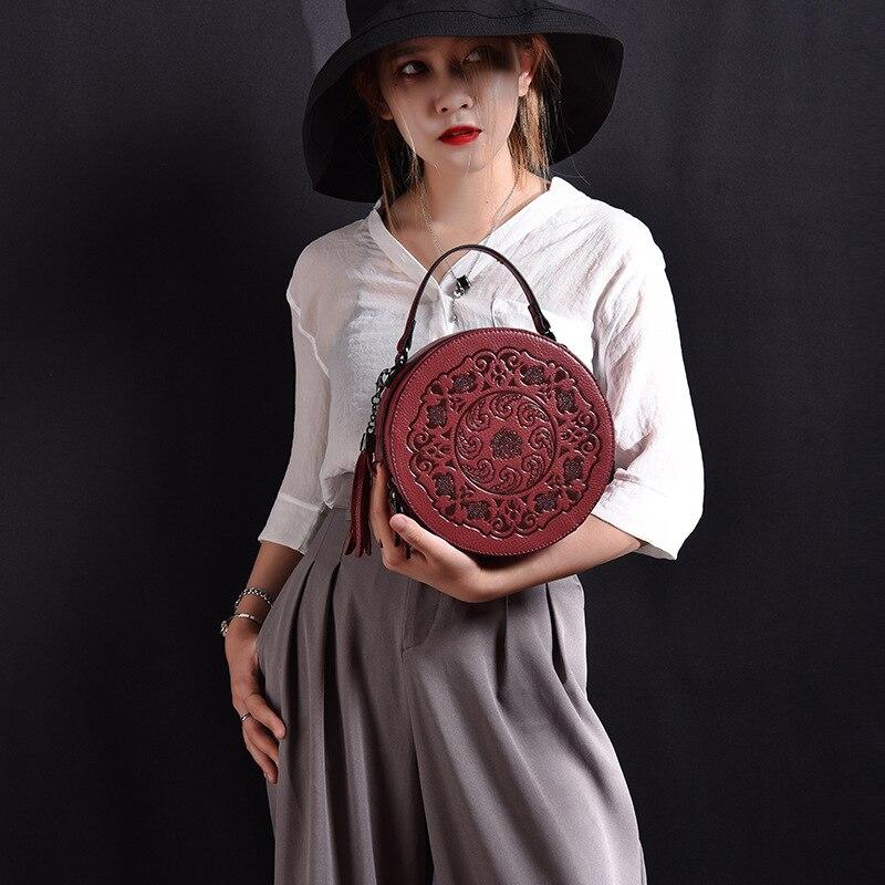 Round Cowhide Crossbody Bags For Women Genuine Leather Luxury Handbags Women Bags Designer Bolsas Feminina