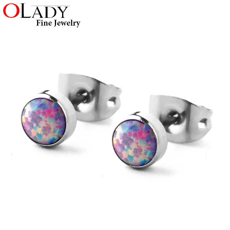100% Titanium Stud Earring Minimalist 4MM 5 colors Round Opal 4MM/5MM sizes 99%Anti-allergic free shipping