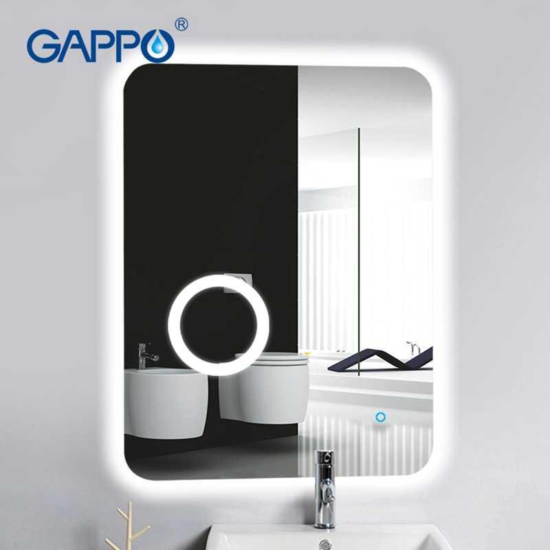 Gappo для ванной светодиодный зеркало для макияжа с лампой зеркала для ванной комнаты прямоугольник