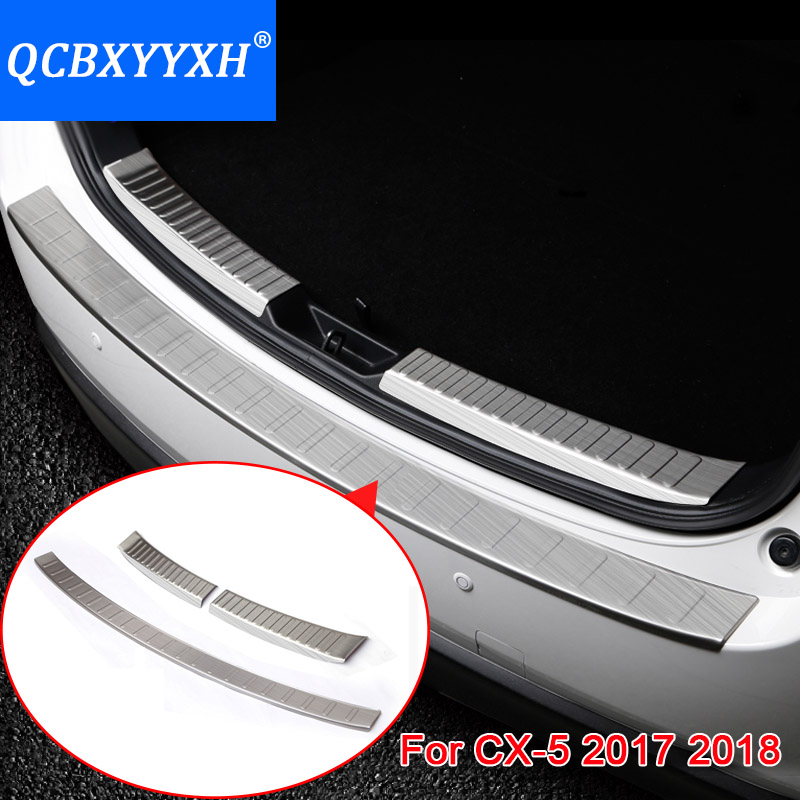 Stainless Steel Trunk Rubber Rear Guard Bumper Protector Trim Cover Rear Bumper Protector Sill Car For Mazda 2th CX-5 2017 2018 protective pvc car bumper guard protector sticker white 2 pcs