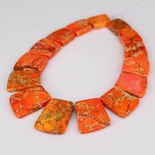 15pcs strand Fashion Necklace Jewelry Making,Orange Sea Sediment Stones Top Drilled Slab Beads,Graduated Dyed Gems Pendant