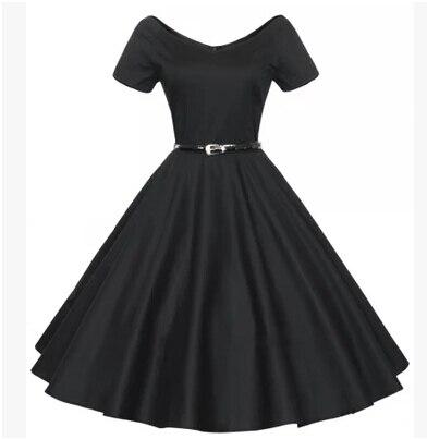 Europe and America Summer Elegant Vintage Hepburn Short-Sleeve V-Neck One-Piece  Dress Medium-Long Expansion Bottom Formal Dress de5e56c515e6