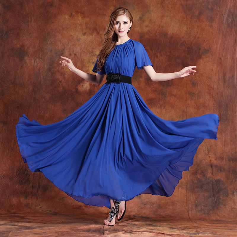 US $42.0 |2016 summer new arrival fairy chiffon maxi dress bohemia plus  size short sleeved Sundress Beach Wedding Dinner dress-in Dresses from  Women\'s ...