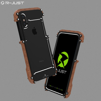 R Just For Apple iPhone X Case Cover Luxury Hard Metal Aluminum Wood Protective Armor Phone Case for iPhone X Back Cover Funda