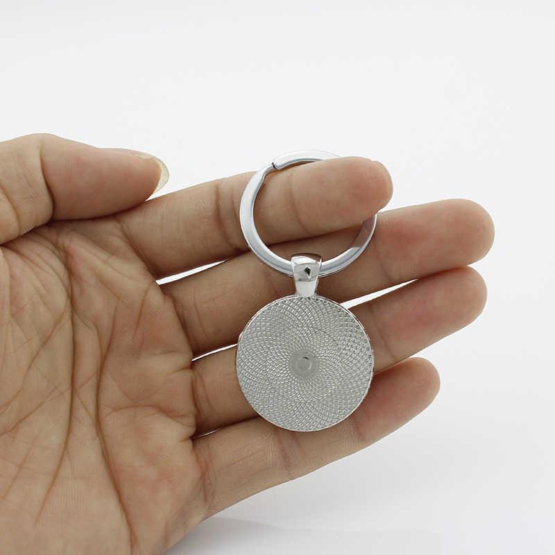 TAFREE Ágil cocker spaniel keychain Cão buldogue Francês parece fofinho bonito corrente chave redonda de Vidro homens mulheres jóias DG25