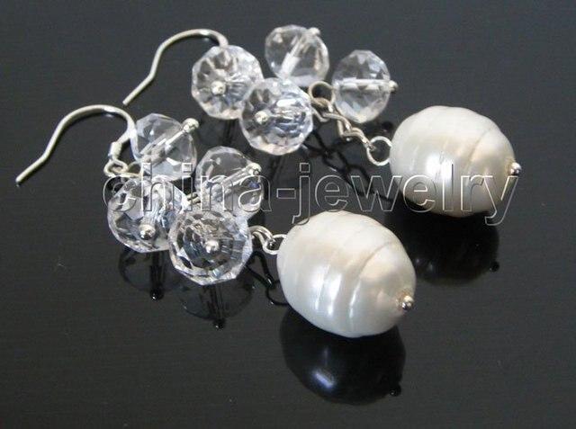 10 - 15 мм белый кристаллический + белое море Жемчужина серьги - 925 крюк