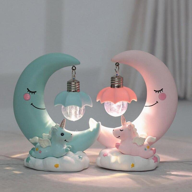Baby Slaapkamer Te Koop.Beste Koop Maan Eenhoorn Led Nachtlampje Hars Cartoon Kwekerij Lamp