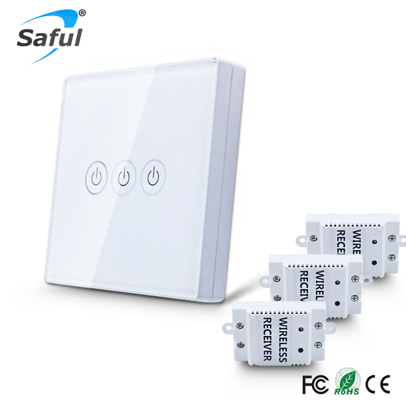 Wireless Touch Light Switch 3 gang 3 Way DIY Remote Control  LED indicator touch Switch,White Crystal Glass Panel Free Shipping white 1 gang 1 way led crystal glass panel light touch screen remote switch for light with wireless remote control 110v 220v