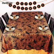 Ourwarm 1 pc Lace Black Spider Web Halloween Tablecloth Tablecover Rectangle 210*150 cm New Decoration Decor Props