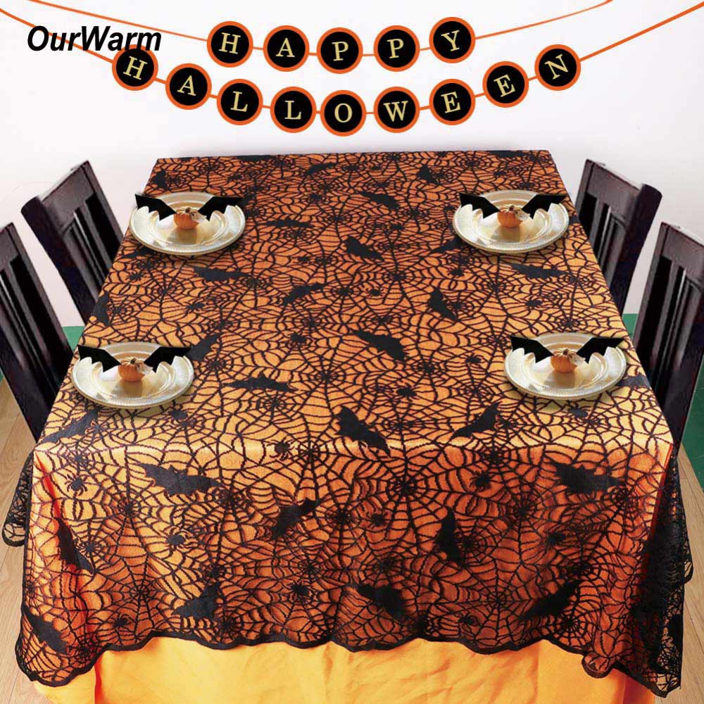 Halloween tablecloth - Ourwarm 1 Pc Lace Black Spider Web Halloween Tablecloth Tablecover Rectangle 210 150 Cm New