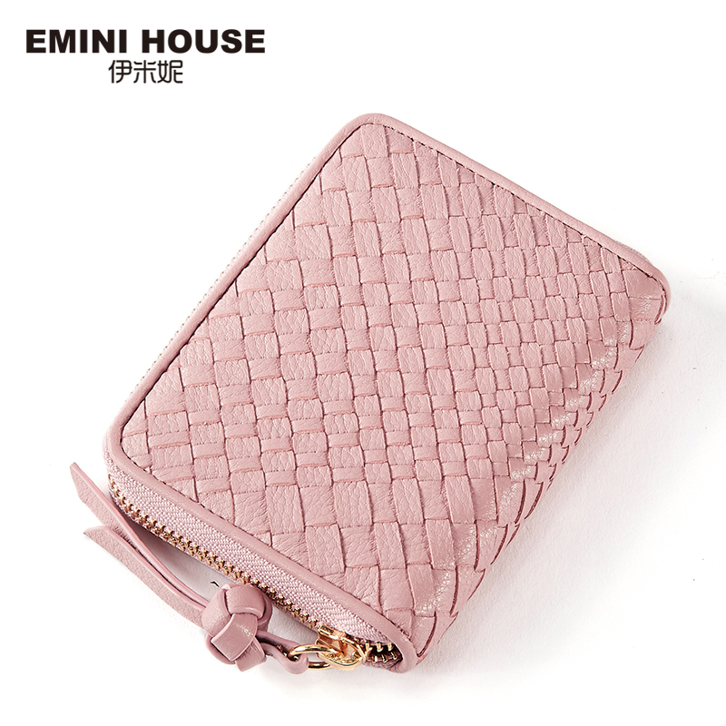 EMINI HOUSE Hand-Woven Genuine Leather Women Short Wallet Luxury Brand Ladies Leather Wallets Zipper Cion Wallet Card Holder