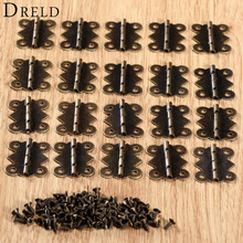 20Pc 25x20mm Antique Bronze Kitchen Cabinet Hinge Furniture Accessories Vintage Jewelry Wooden Box Hinges Fittings for Furniture