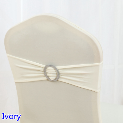 Ivory Colour Shiny Round Buckles Spandex Chair Sash Wedding Chair Sashes Lycra Stretch Chair Band Universal Hotel Party Show