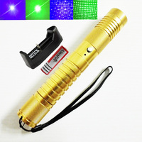 Green Blue Laser Pointer Powerful Military Two color 450NM 532NM Single Point Starry 2 in 1 Lazer Pen + 18650 Battery + Charger