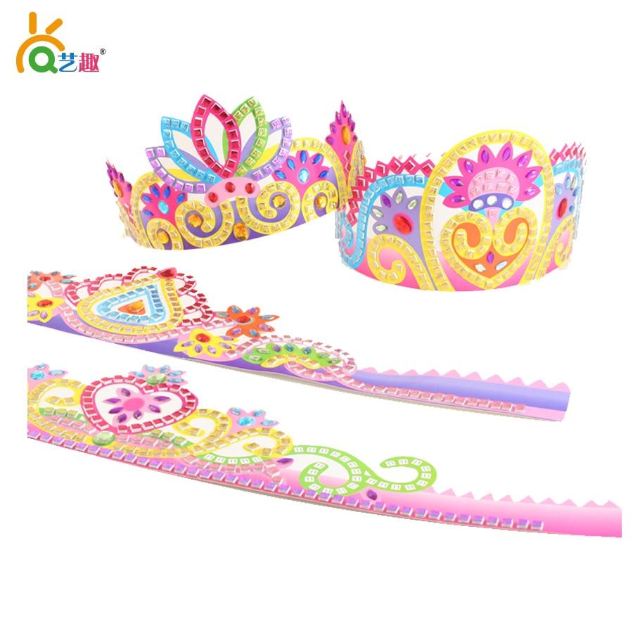 2 piezas para niños DIY corona de mosaico con juguetes de diamantes / Pegatinas de EVA hechas a mano para niños que aprenden juguetes educativos en la escuela de jardín de infantes,