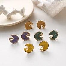 Korean Vintage Irregular Geometric Lotus Leaf Woman Girls Stud Earrings Fashion Jewelry Holiday-KQQE цена и фото