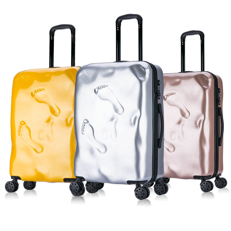 купить Men and Women Vintage Trolley Luggage Personalized Damaged Travel Suitcase Footprint Trolley Suitcase онлайн
