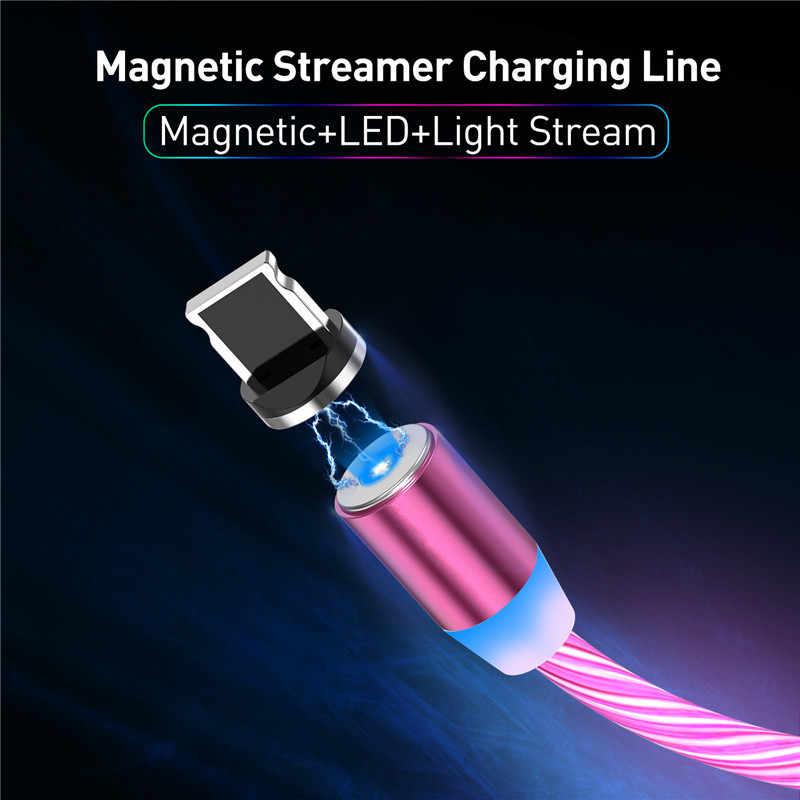 المغناطيسي تدفق مصباح ليد مضيء USB كابل الشاحن ل فون Xs ماكس مايكرو نوع C تهمة A50 A70 P30 الحبل سريع شحن المغناطيس