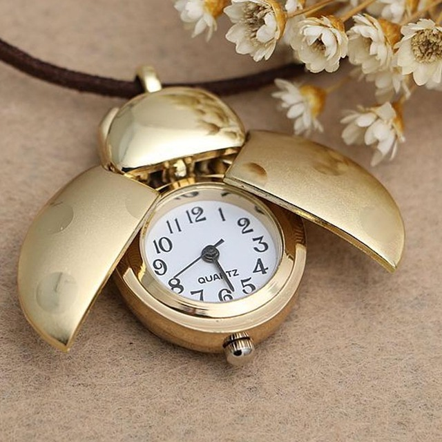 Hot Sales Ladybird Beetle Pocket Watch Necklace for Women Girl Leather Chain Lon