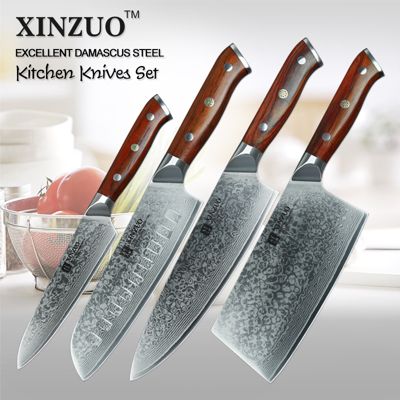 XINZUO 4 pcs Cuisine Ensemble De Couteau En Acier Damas Chef Couteaux Ensemble Pro Maître Santoku Utilitaire Couteaux À Découper En Acier Inoxydable Couverts