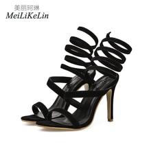 MeiLiKeLin Gladiateur D été Style femmes de haute talons dames célébrité  Concise chaussures femme sandales US5-9 Noir 2fd651834531