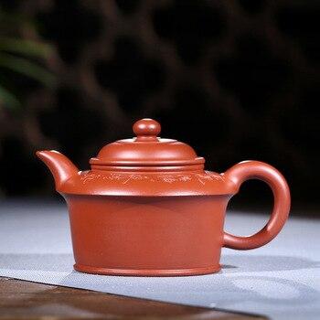 Worker of Yixing Purple Sand Pot, Handmade Raw Coal Mine, Dahongpao, Gaoxu Flat Pot, Kungfu Teapot and Teaware Gift