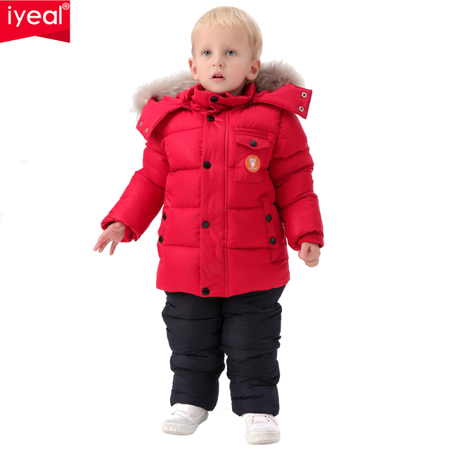 Brand Winter Children Clothing Set for Infant Boys Natural Fur Down Cotton Coat +Overalls Windproof Ski Suit Kids Baby Clothes
