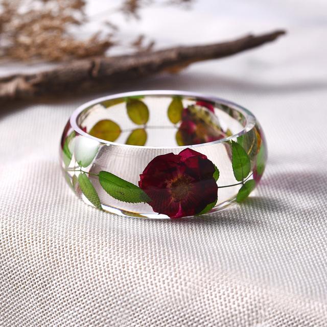 Real Dried Rose Flower Women Bangle Bracelet Christian