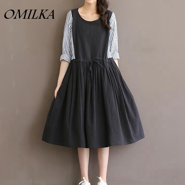 Omilka Vintage 2017 Hot Women Plus Size Cotton Linen Dress Korean
