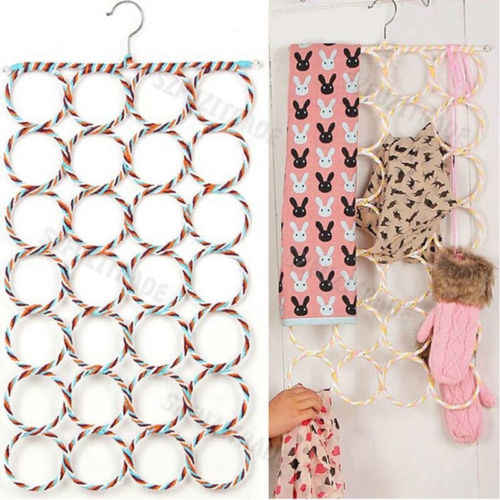 9 28 Ring Scarf Shawl Scarves Holder Foldable Tie Belt Hook Organizer Rattan Weave Hanger Wardrobe Storage Holder Display Rack