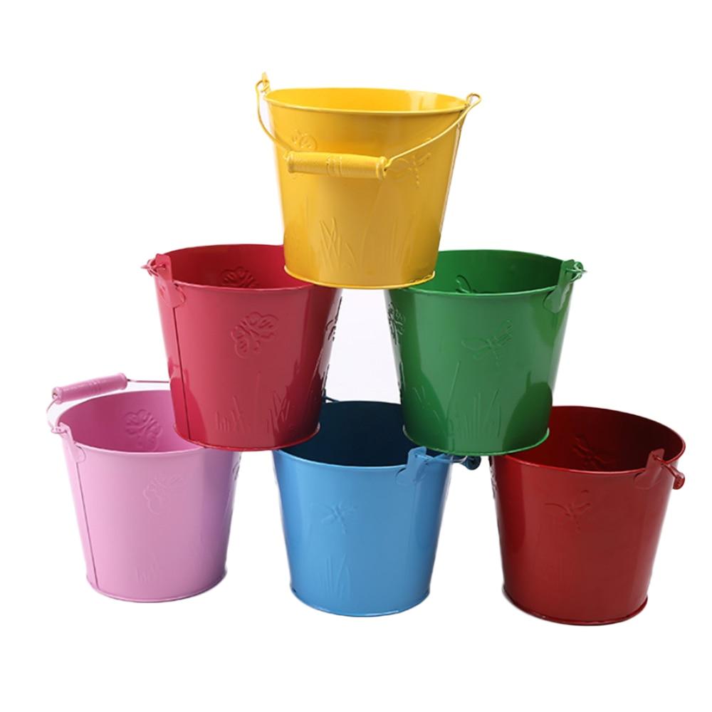 Children Beach Toy Bucket Gardening Galvanized Toy Bucket Toilet Iron Barrel Seaside Children Outdoor Toys 12.5*11*9 HOT Toys
