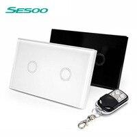 SESOO US Standard SESOO Remote Control Switch 2 Gang 1 Way RF433 Smart Wall Switch Wireless