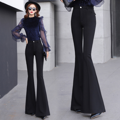 SMTHMA Women Summer Sping Fashion Solid Black Pants Ladies Elegant Bottom Wide Ruffles Trousers S M L XL 2XL Full Length 3