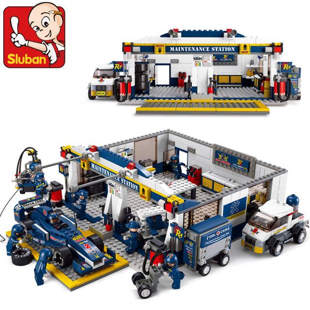 Sluban f1 racing car 741 unids bloques huecos de la educación diy juguetes de los ladrillos speedway boxes diy niños leping bebé juguetes