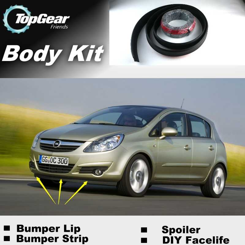 Lèvres de pare-chocs pour Opel Corsa C D Vita Barina/becquet de magasin de vitesse supérieure pour Tuning de voiture/TOPGEAR recommander Kit de carrosserie + bande
