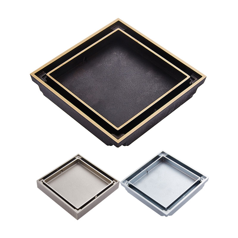 Free Shipping 10cm Square Bathroom Brass Shower Drains Floor Drain Trap Waste Grate Invisible Drainer Brushed Chrome Antique drains 12 12cm antique brass shower floor drain bathroom deodorant euro square floor drain strainer cover grate waste hj 8702s